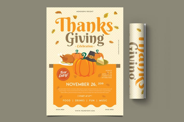 Thanksgiving Flyer Template Design