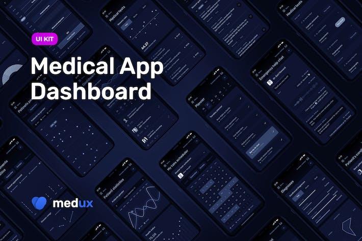 Thumbnail for Medical App Dashboard – MedUX Dark UI Kit