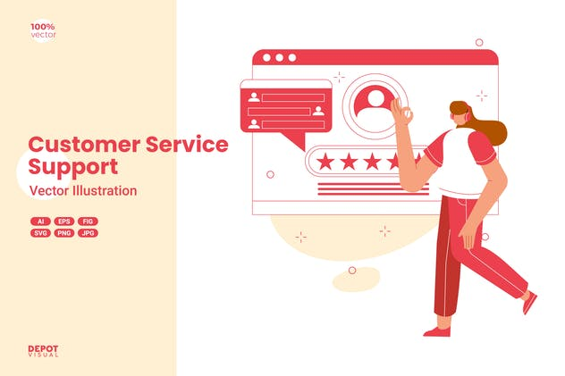 Customer Service Support Vector Illustration - product preview 0
