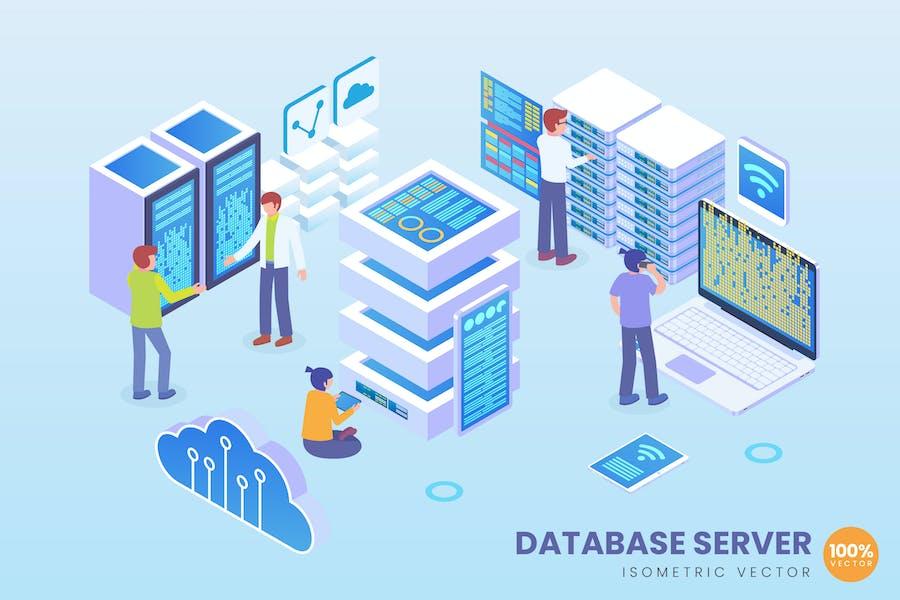 Isometric Database Server Vector Concept
