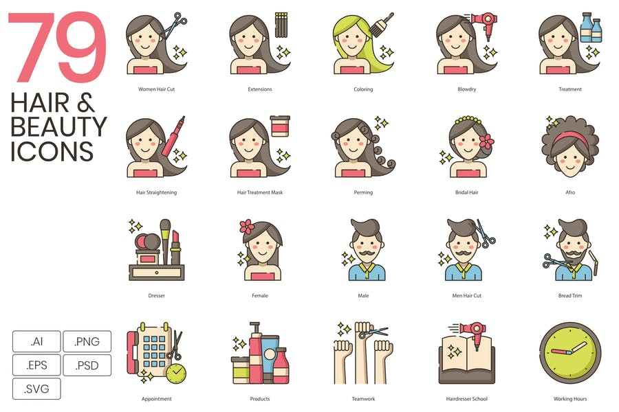 79 Hair & Beauty Line Icons