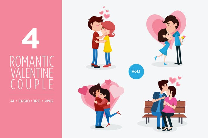 Thumbnail for Cute Valentine Couple Vector Illustration Vol.1