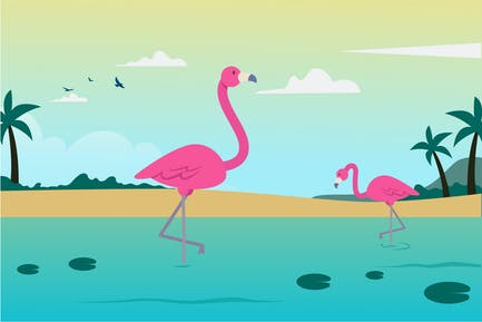 Leck und Flamingo-Illustration