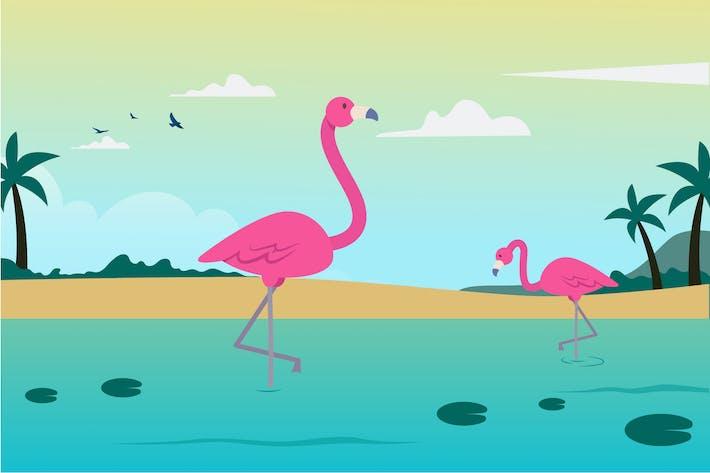 Thumbnail for Leak and Flamingo Illustration