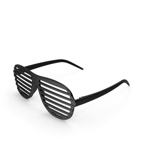 Vintage Black Plastic Shutter Shades Sunglasses