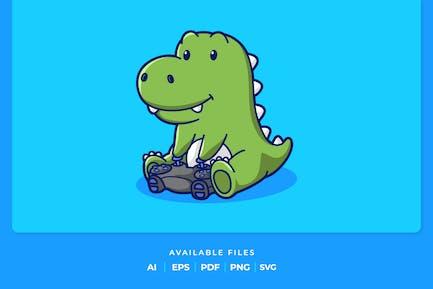 Cute Dino Playing Game