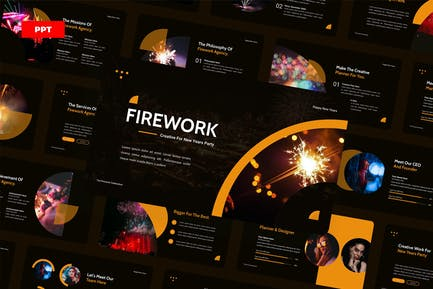 Firework New Years Party - PowerPoint