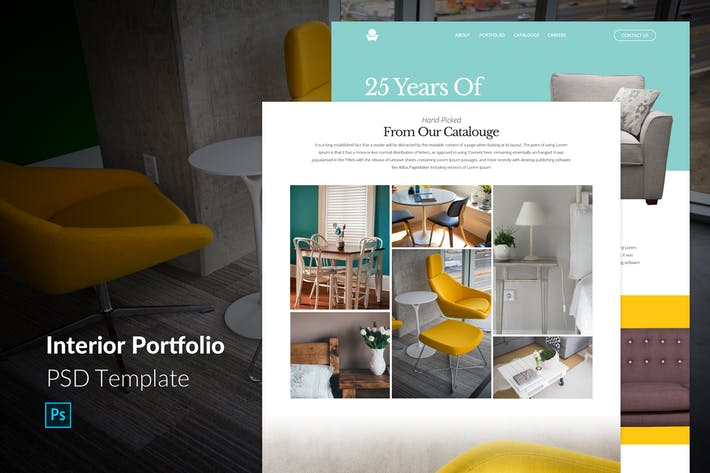 Thumbnail for Interior Portfolio One Page PSD Template