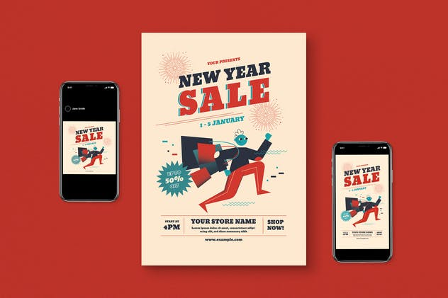 New Year Sale Flyer Set