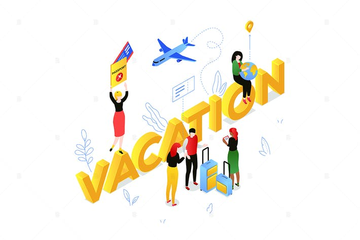 Thumbnail for Vacation and travel - isometric illustration