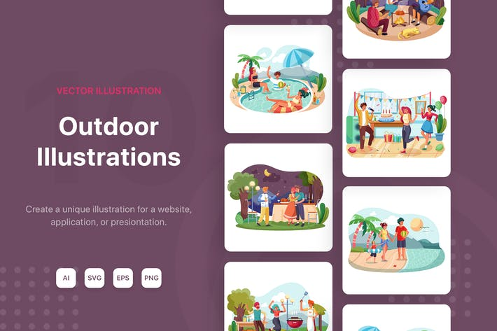 Thumbnail for Party Outdoor Illustrations
