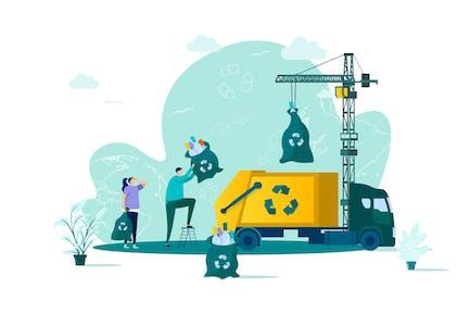 Waste Management Flat Concept Vector Illustration