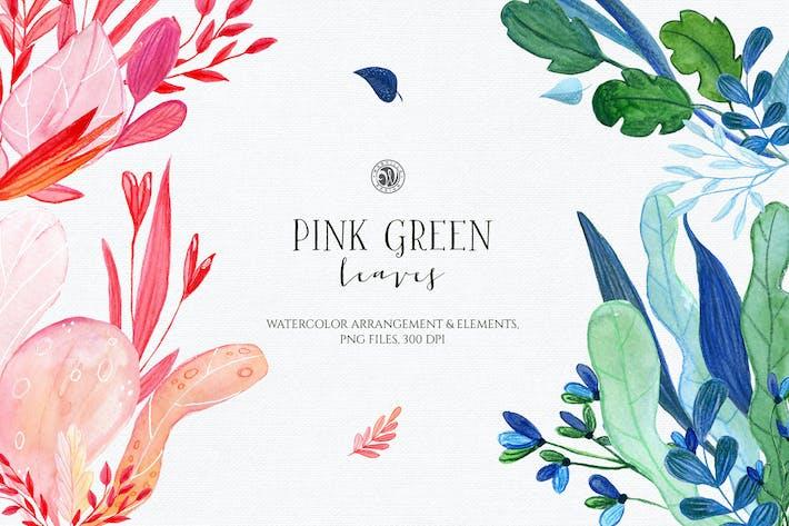 Rosa grüne Blätter