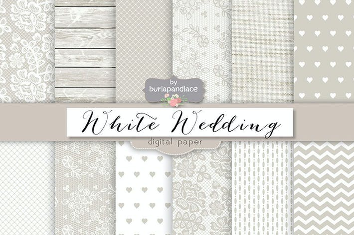 Thumbnail for White wedding digital paper pack