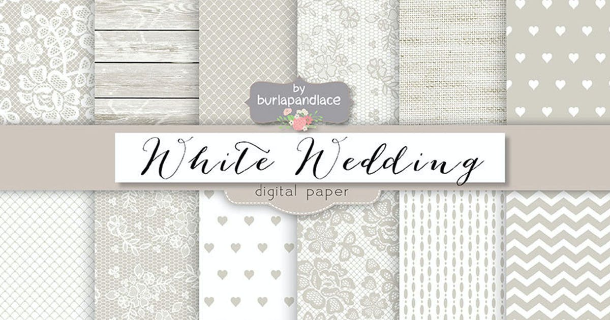 Download White wedding digital paper pack by burlapandlace