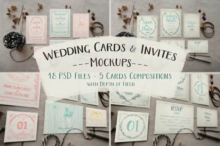 Thumbnail for Rustic Wedding Invitation Mockup