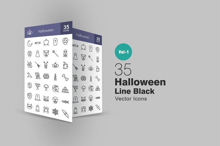 Cover Image For 35 Halloween Line Icons
