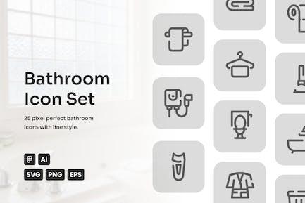Bathroom Dashed Line Icon Set