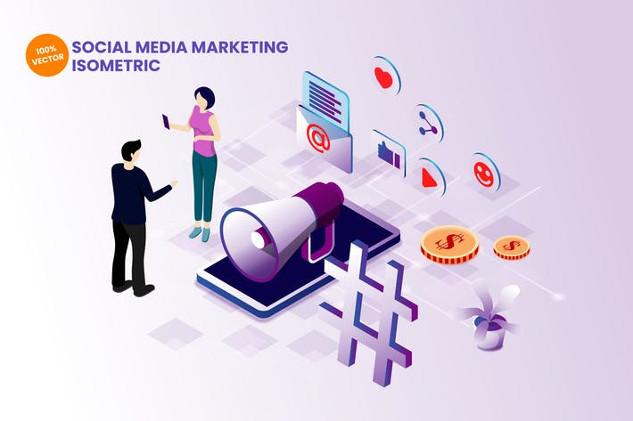 Thumbnail for Isometric Social Media Marketing Illustration