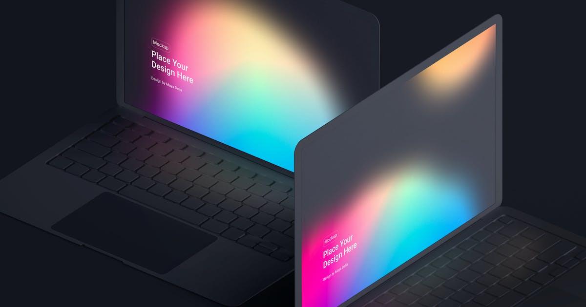 Download Isometric MacBook Clay Mockup by helloDigi