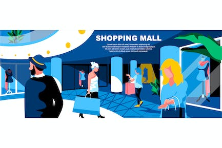 Shopping Mall Flat Concept Landing Page Header