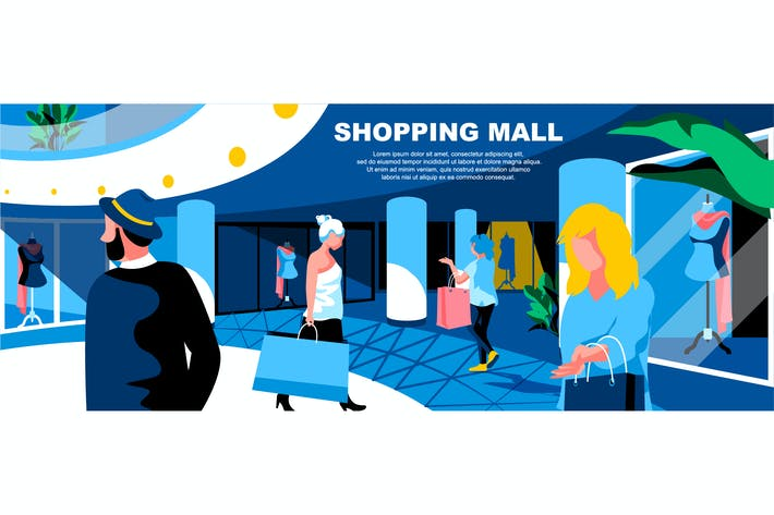 Thumbnail for Shopping Mall Flat Concept Landing Page Header
