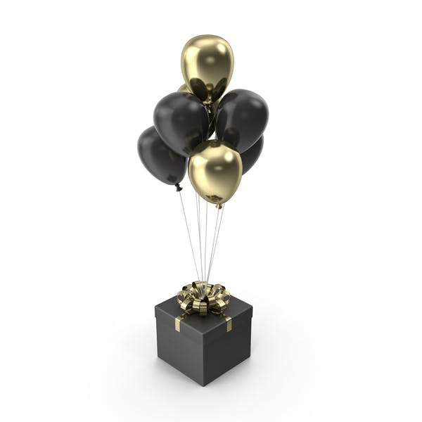 Thumbnail for Gift Black Box with Gold Ribbon with Black and Gold Balloons