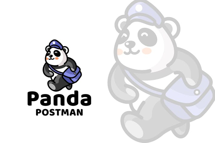 Thumbnail for Panda Postman Cute Logo Template