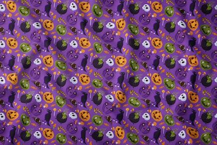 Halloween Scary Seamless Pattern