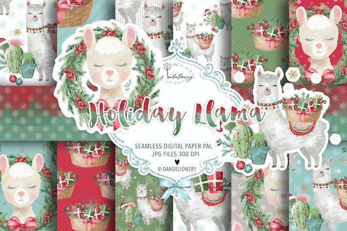 Thumbnail for Holiday Llama digital paper pack