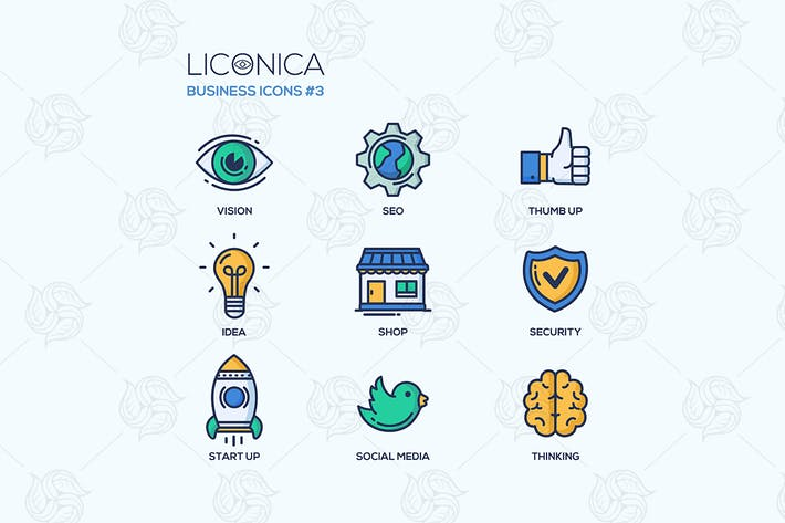 Thumbnail for Set of modern business thin line flat design icons