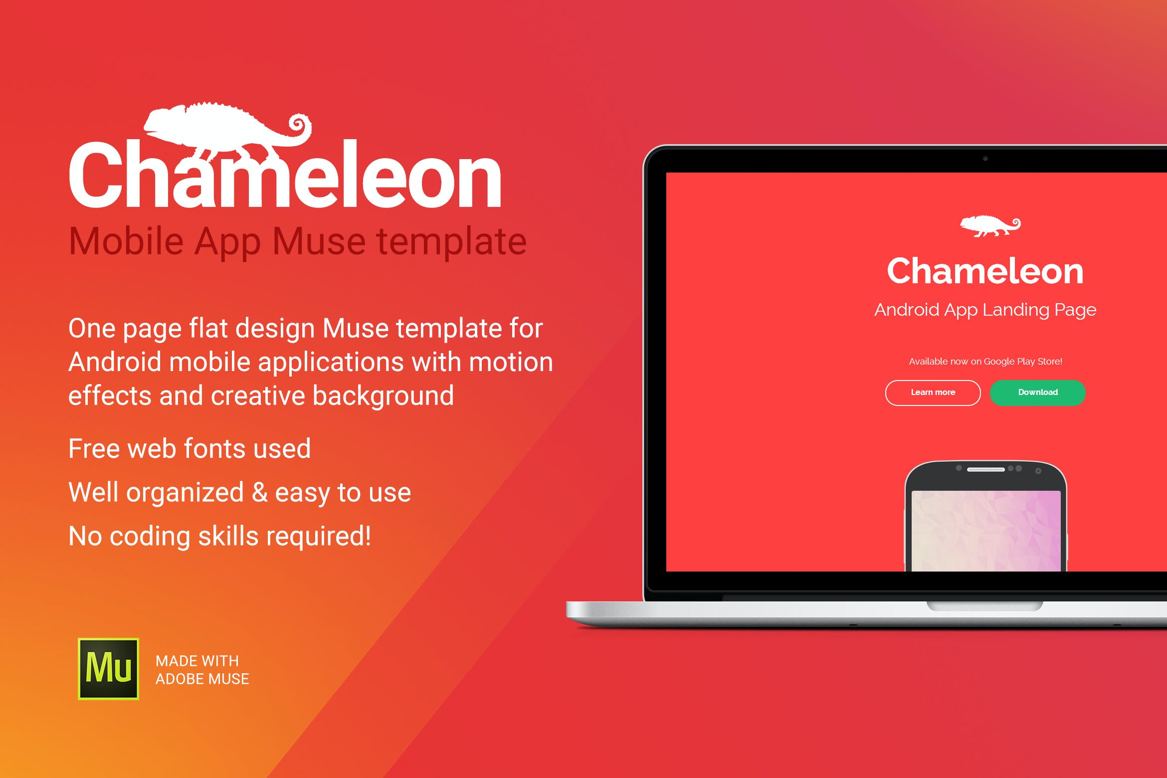 Chameleon - Android App Promo Site Muse Template by