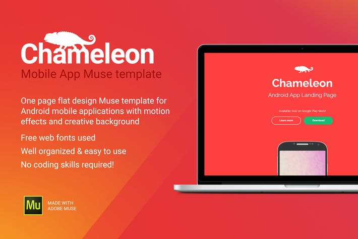 Thumbnail for Chameleon - Android App Promo Site Muse Template