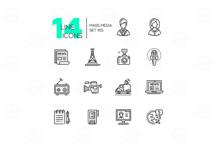 Thumbnail for Mass media - modern single line icons set