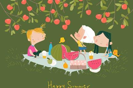 Niños felices que tienen picnic bajo el manzano.