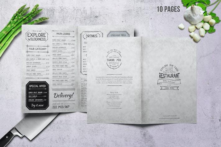 Thumbnail for Vintage A4 Food Menu Design - 10 Pages