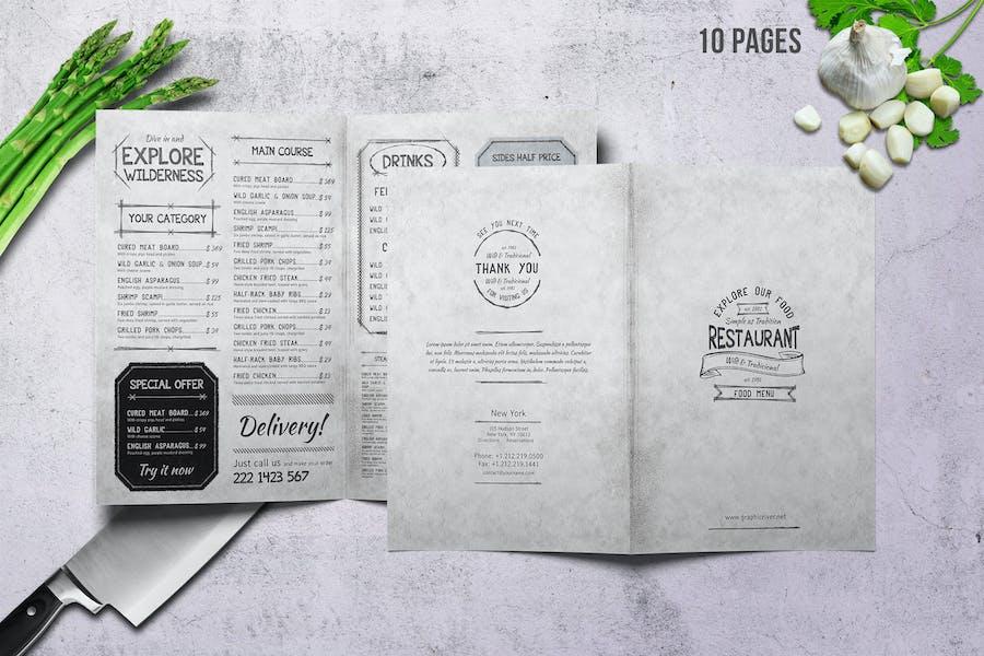 Vintage A4 Food Menu Design - 10 Pages