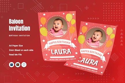 Baloon Pink Birthday Invitation