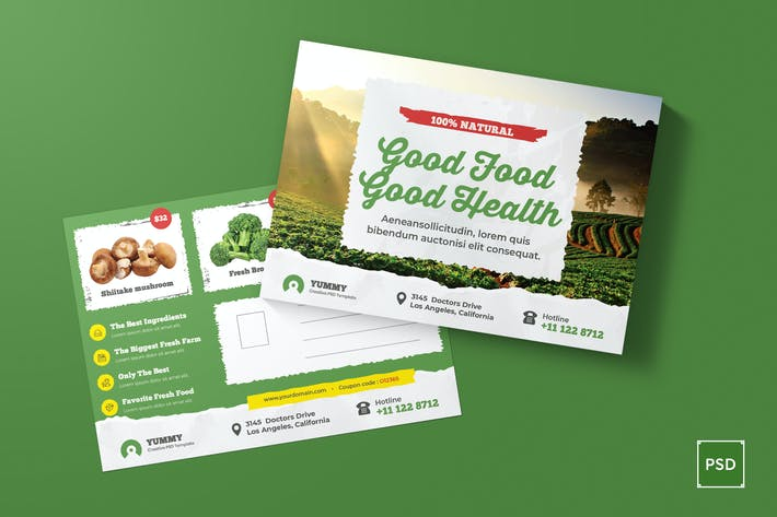 Cover Image For Organic Market, Fresh Food Postcard