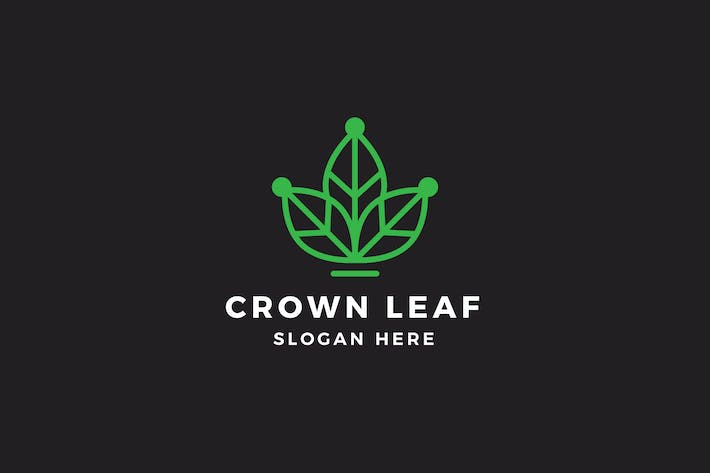 Crown Leaf Logo Template