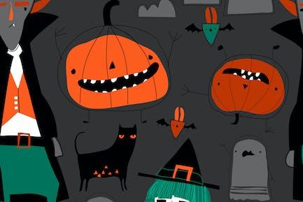 Вектор бесшовный узор с персонажами Хэллоуина