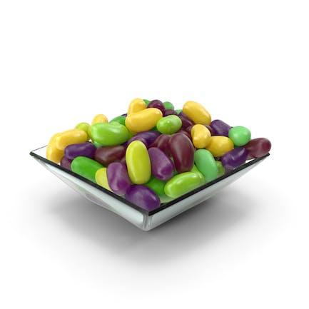 Quadratische Schale mit Jelly Beans Grün Lila