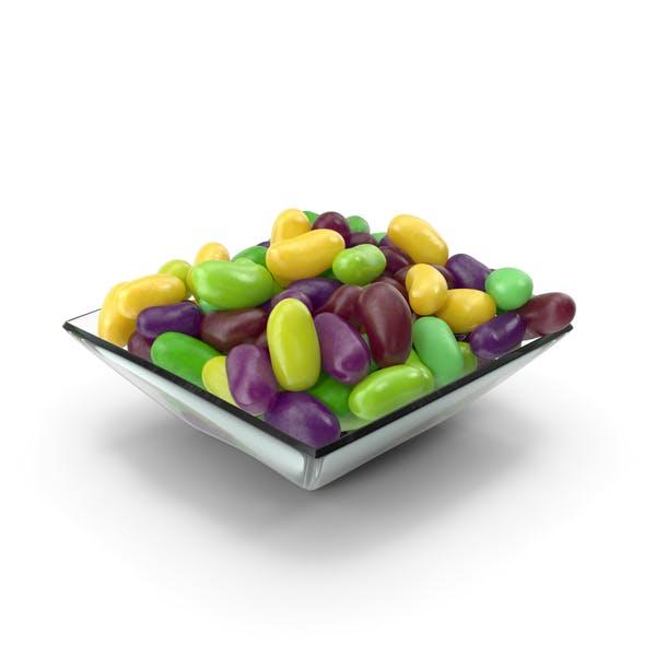 Квадратная чаша с желе фасоль зеленый фиолетовый