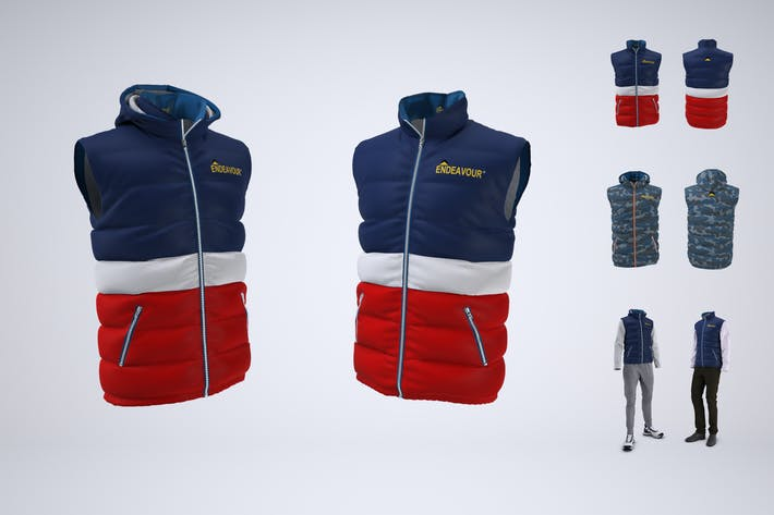 Puffer Vest or Gilet Jacket Mock-up