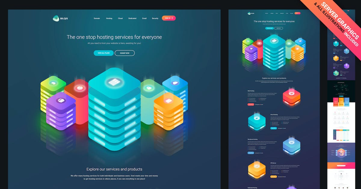 Gradient Hosting Template PSD [Graphics Included] by themeboo on
