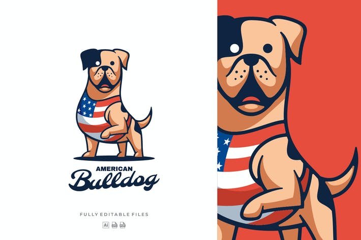 Thumbnail for American Bulldog Mascot Cartoon Logo