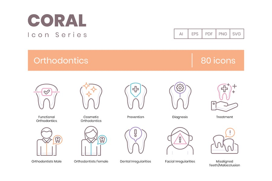 80 Orthodontie Icons - Coral-Serie