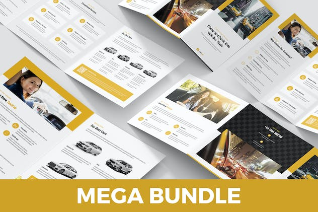 Taxi Cab – Brochures Bundle Print Templates 5 in 1 - product preview 15