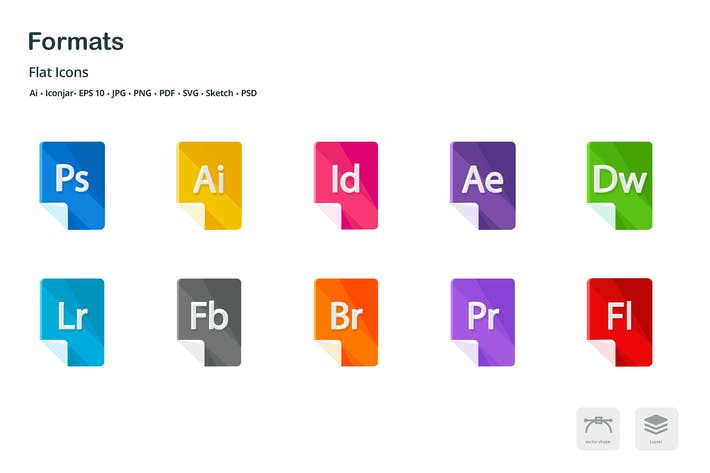 Thumbnail for Formats Files Flat Colored Icons