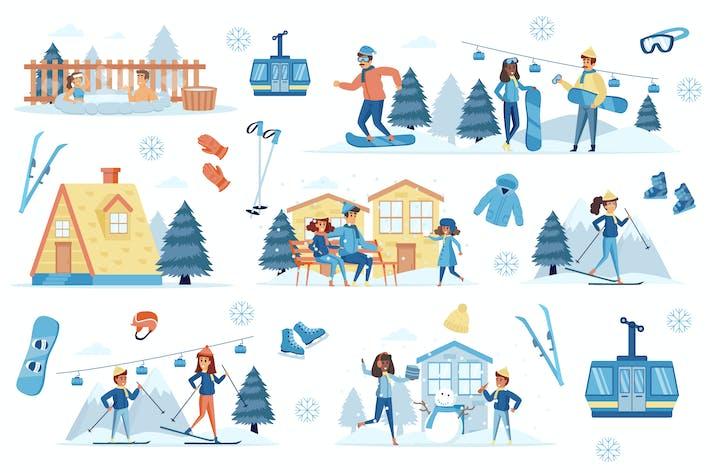 Thumbnail for Winter Resort Flat Scene Creator Kit